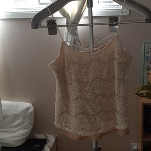 Lined laced tank top